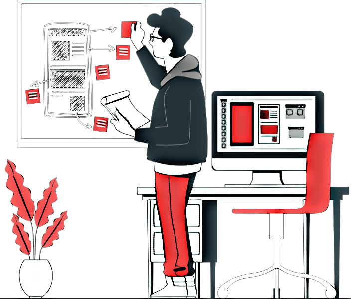 A boy doing design audit